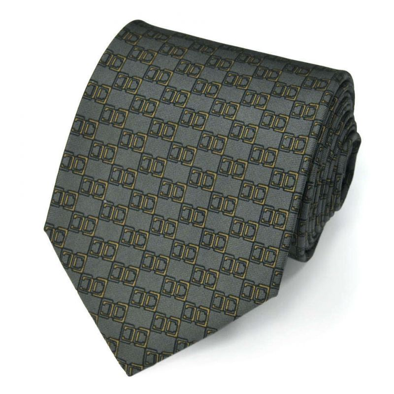 Серый шёлковый галстук Celine с рисунком