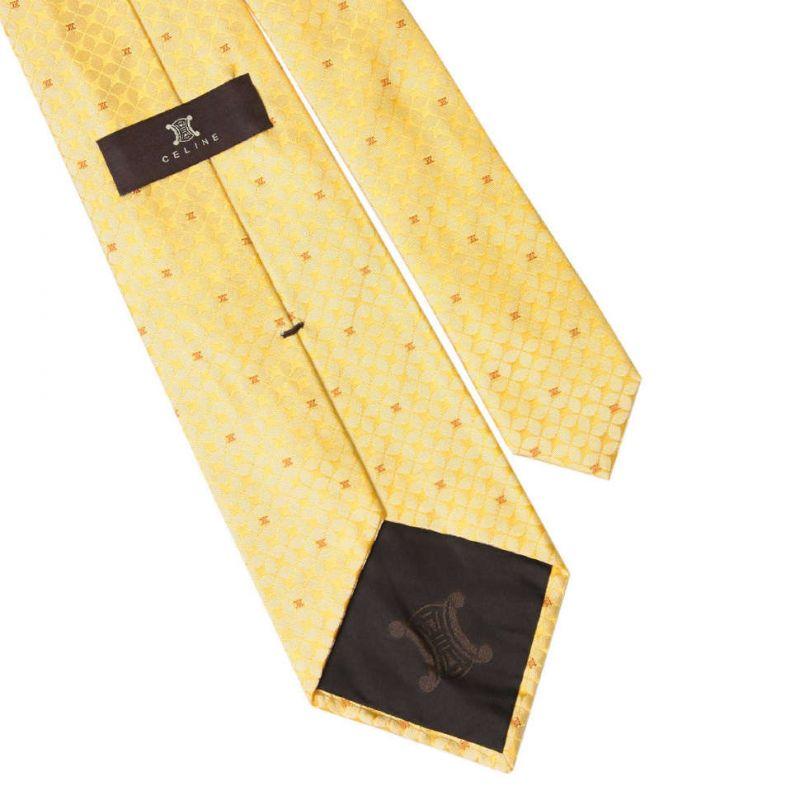 Жёлтый шёлковый галстук Celine рисунок - сетка