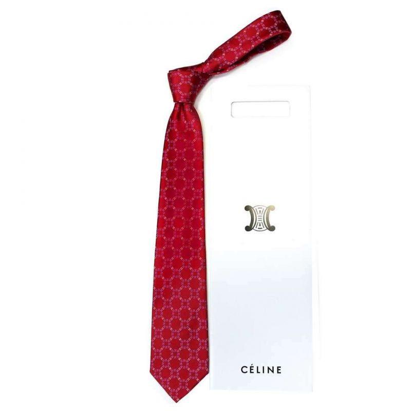 Красный шёлковый галстук с кругами из логотипов Celine