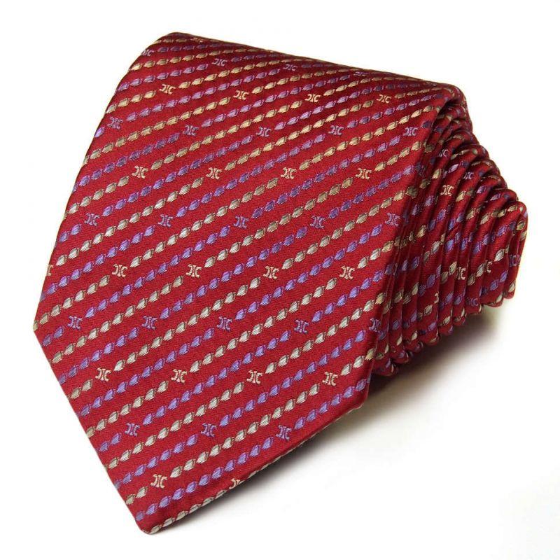 Красный шёлковый галстук Celine с тонкими полосками