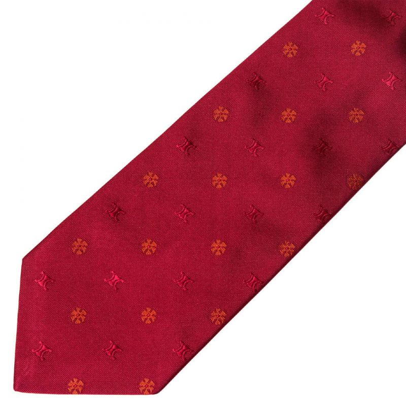 Вишневый галстук с логотипами Celine из шелка