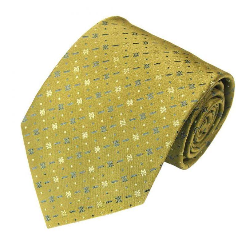 Салатовый шёлковый галстук Celine с мелким рисунком