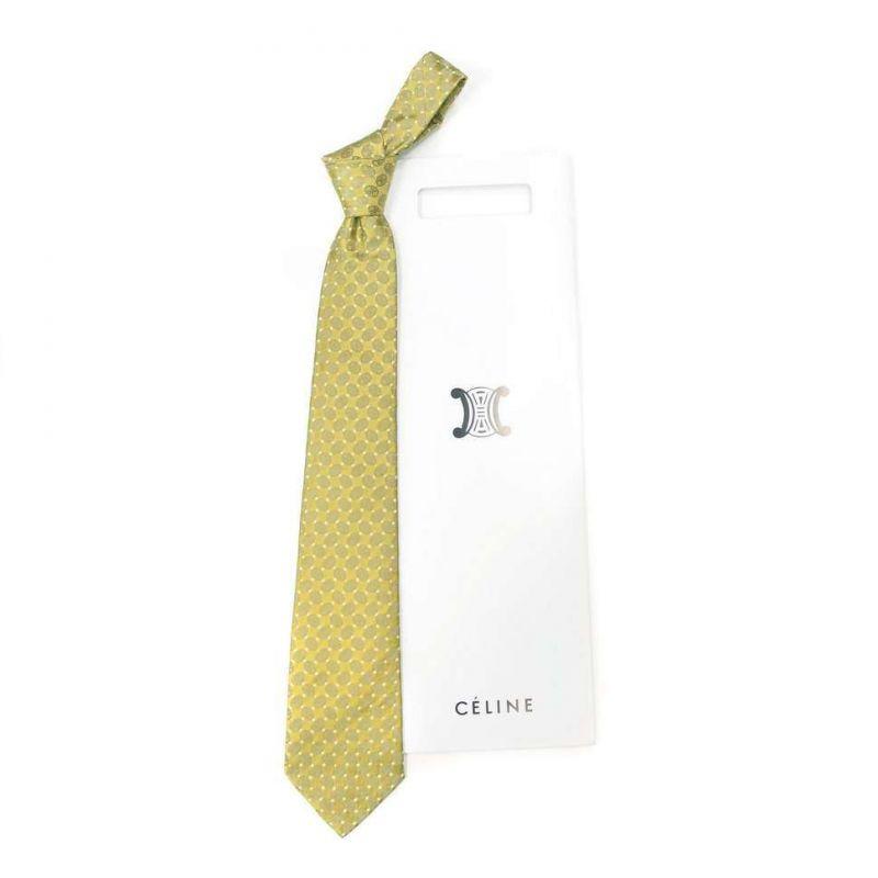 Жёлто-салатовый шёлковый галстук Celine с рисунком