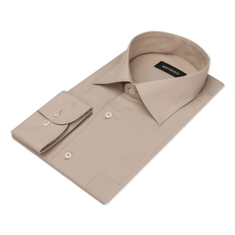 Тёмно-бежевая рубашка однотонная, неприталенная, удлиненная