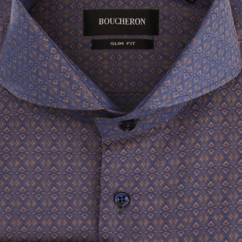 Тёмно-синяя рубашка с узором, приталенная