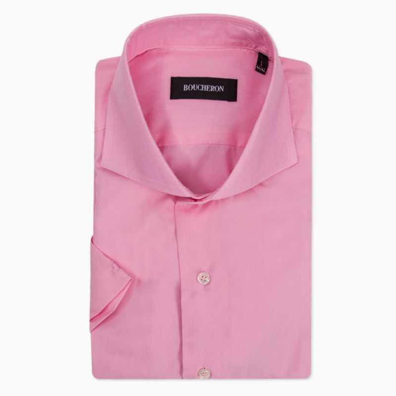 Рубашка розовая с короткими рукавами неприталенная