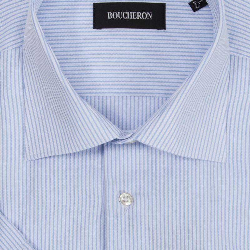 Рубашка голубая в полоску с короткими рукавами неприталенная