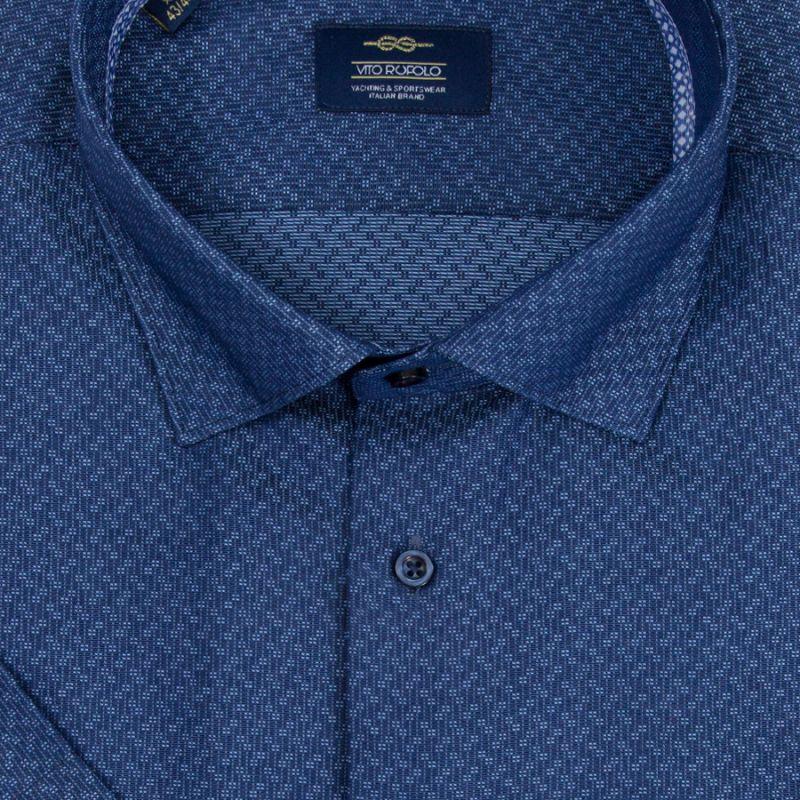 Синяя рубашка с короткими рукавами, неприталенная