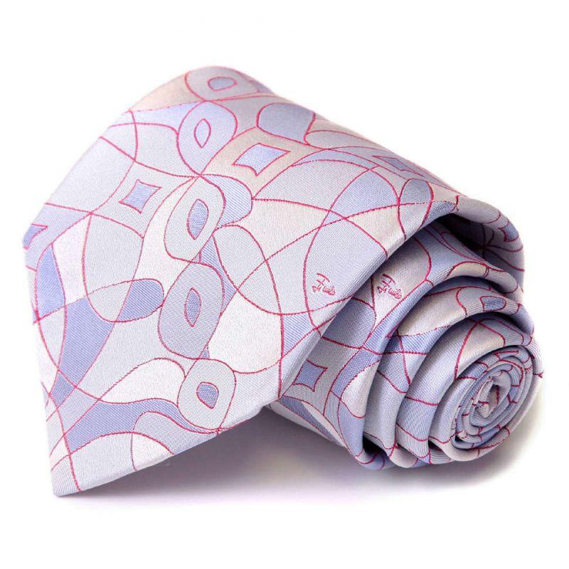 Серебристый галстук Emilio Pucci с лиловым рисунком