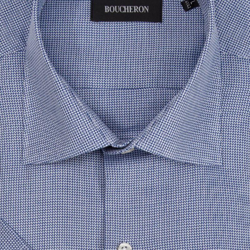 Рубашка синяя с рисунком, с короткими рукавами, неприталенная