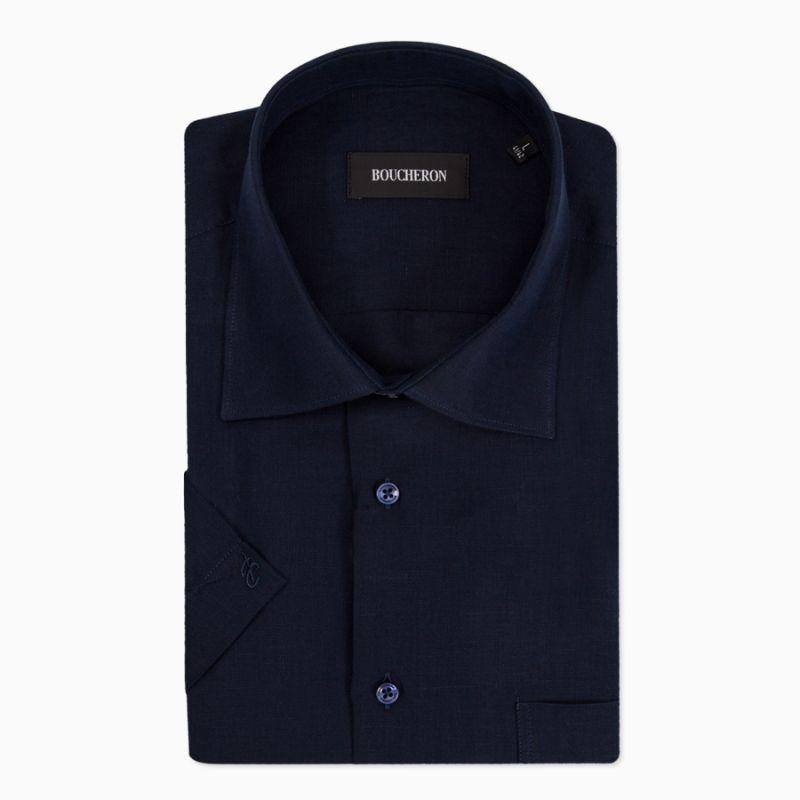 Рубашка с короткими рукавами, синяя, льняная, неприталенная