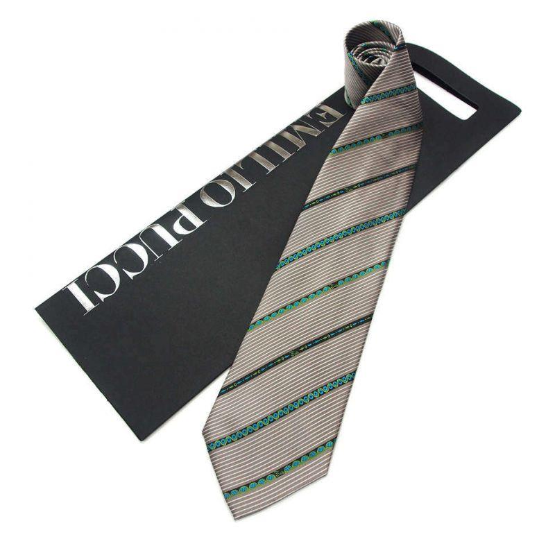Серый галстук Emilio Pucci с бирюзовыми полосками