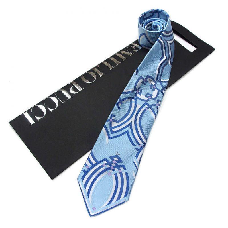Голубой галстук Emilio Pucci с орнаментом