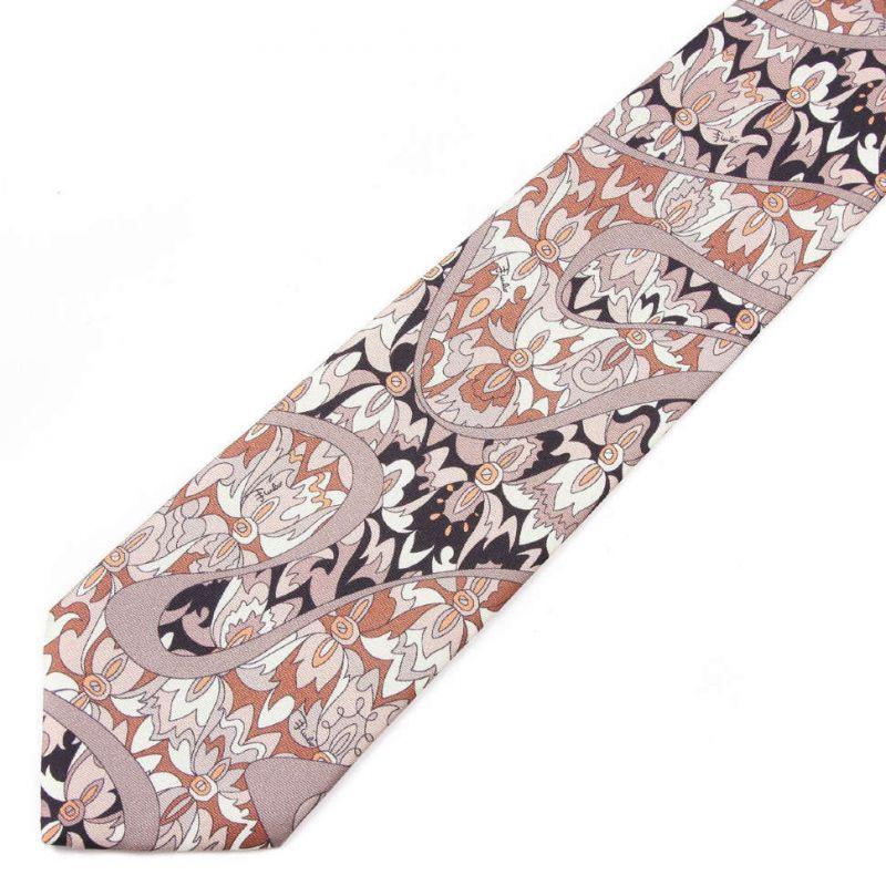 Коричневый галстук Emilio Pucci с цветами