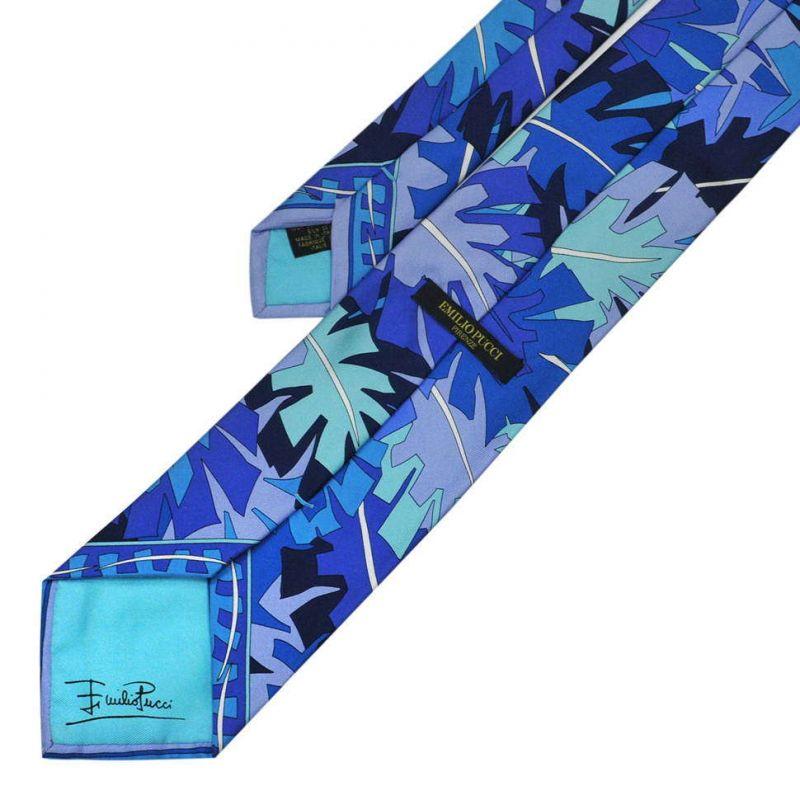 Синий галстук Emilio Pucci с листьями