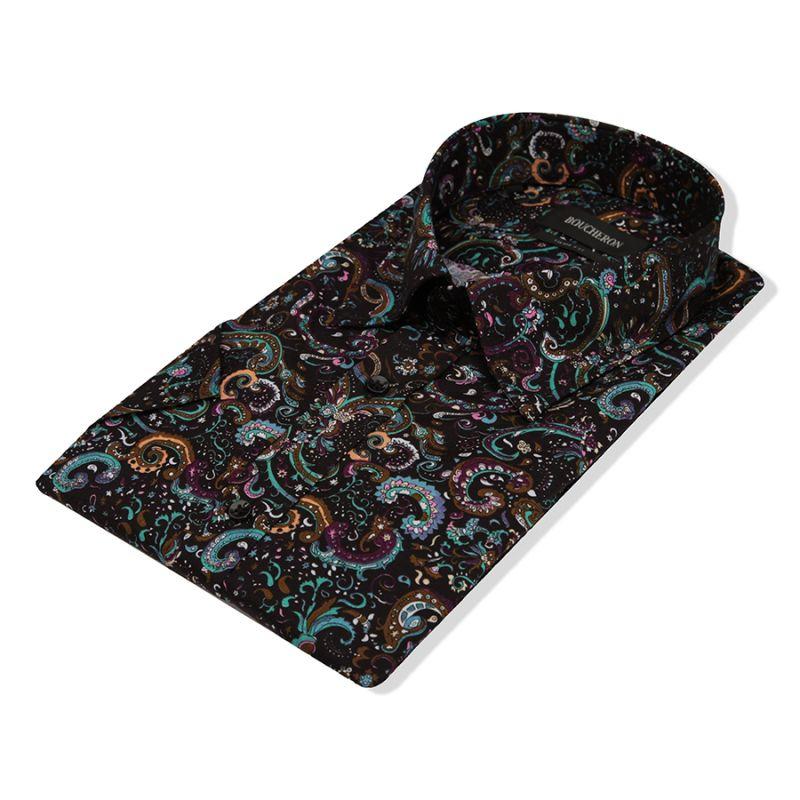 Чёрная рубашка с огурцами с короткими рукавами, приталенная