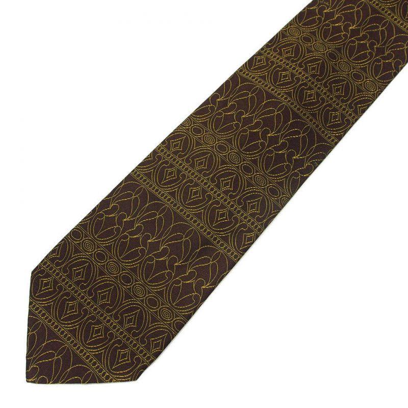Коричневый галстук Emilio Pucci с золотым узором