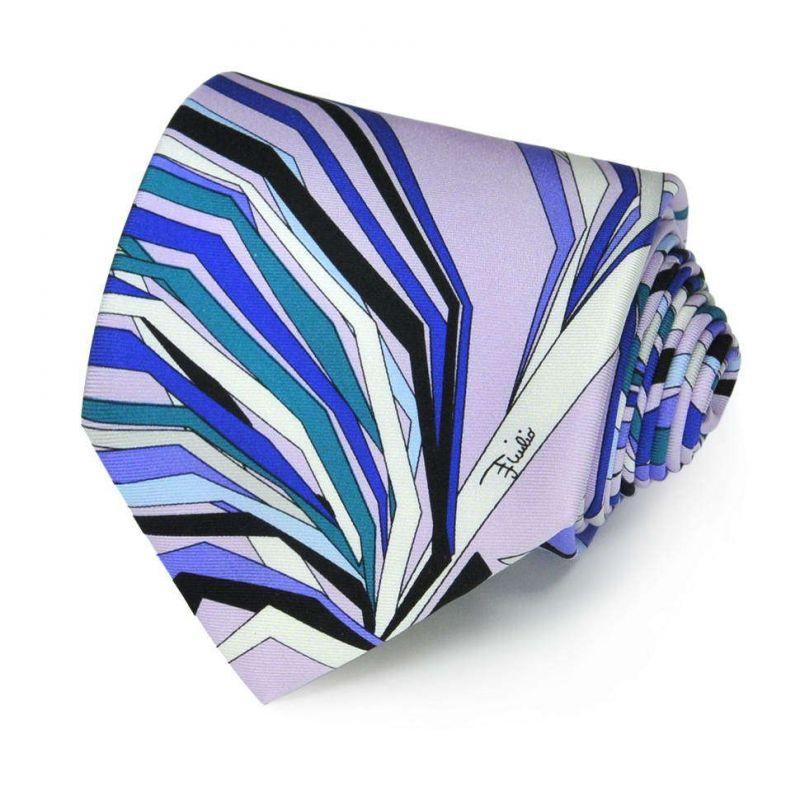 Синий галстук Emilio Pucci с ломаными линиями