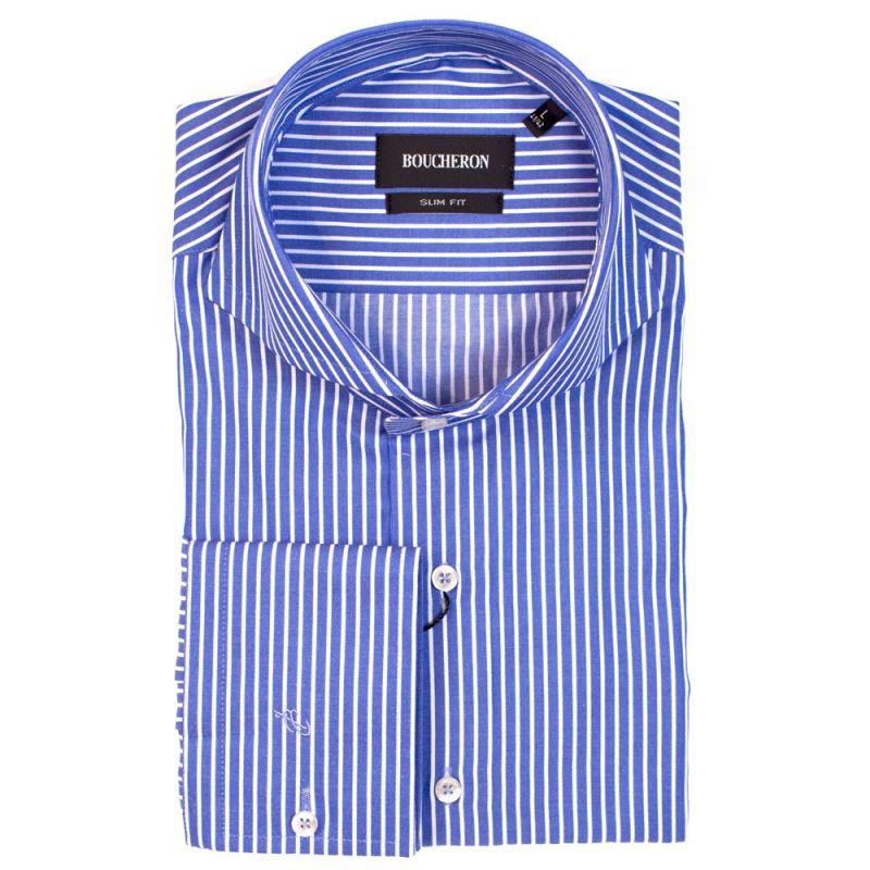 Ярко синяя рубашка в полоску приталенная