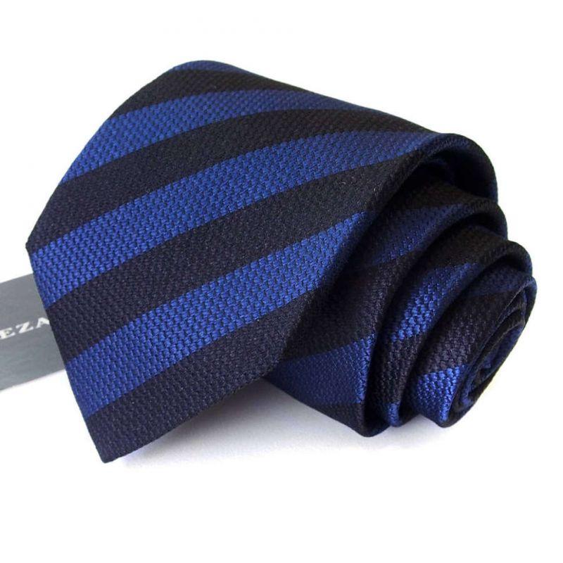 Синий галстук Rene Lezard в чёрную полоску