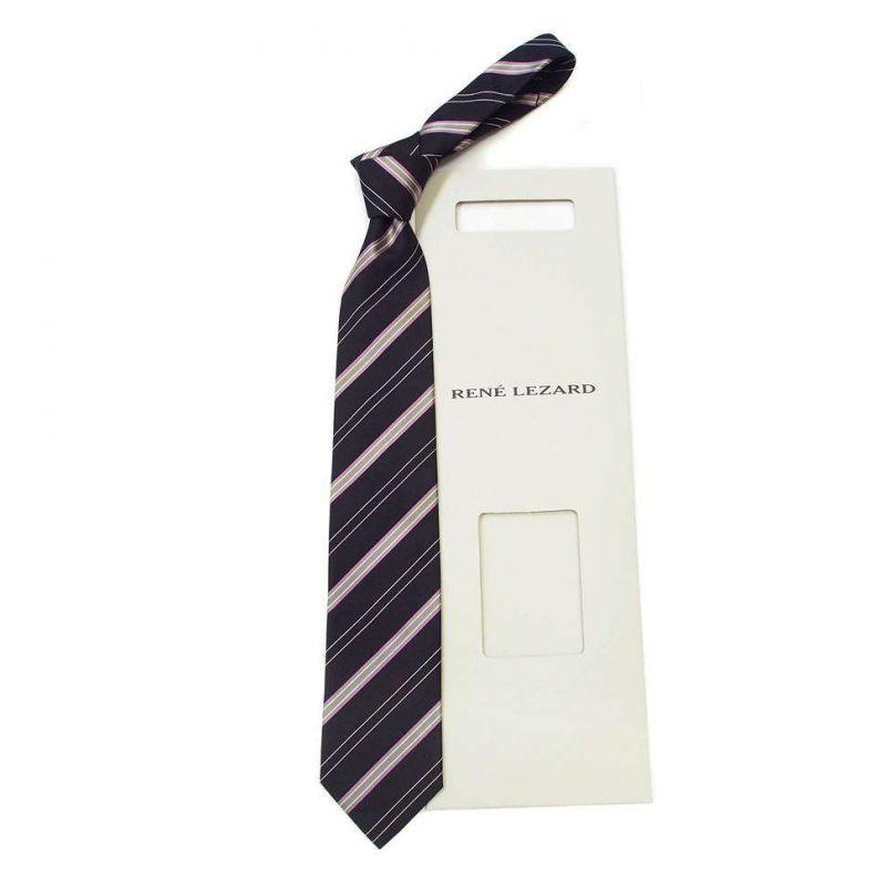 Тёмный галстук Rene Lezard в розовую полоску