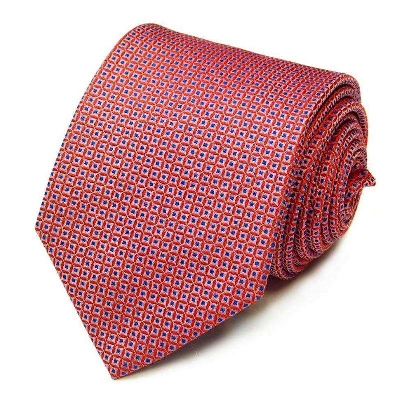Коралловый галстук Rene Lezard с выделкой