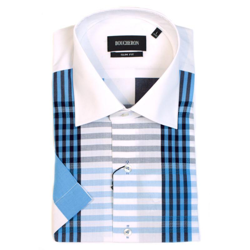 Рубашка в клетку и полоску с короткими рукавами, приталенная