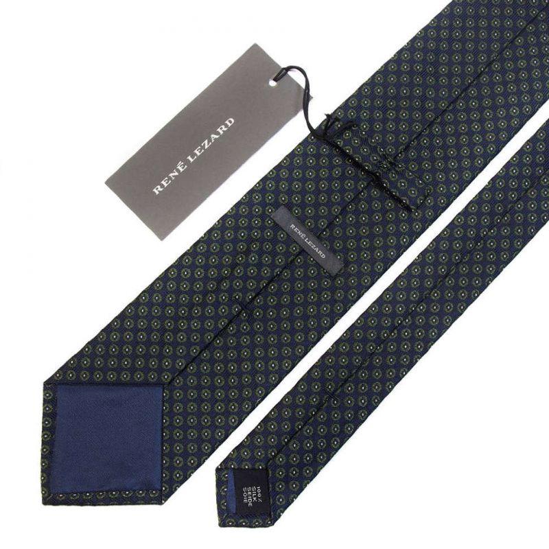 Тёмно-синий галстук Rene Lezard в горошек