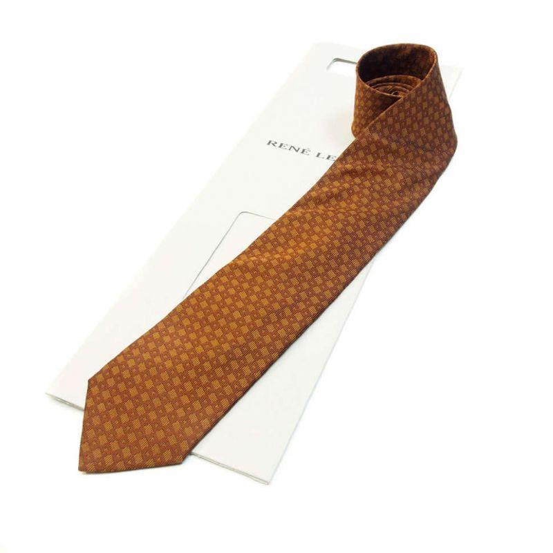 Коричневый галстук Rene Lezard с геометрическим принтом
