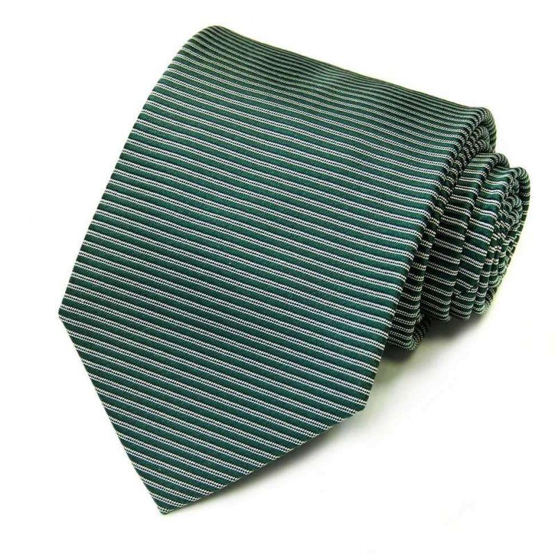 Зелёный галстук Rene Lezard в полоску
