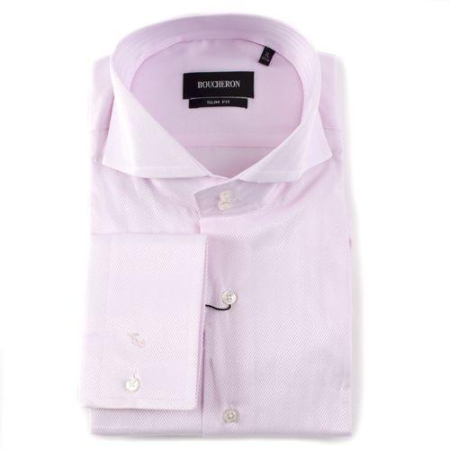 Рубашка розовая в ёлочку приталенная