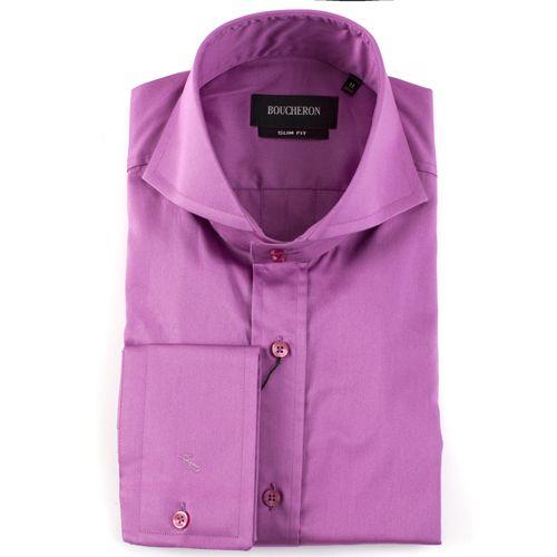 Рубашка сиреневая однотонная приталенная