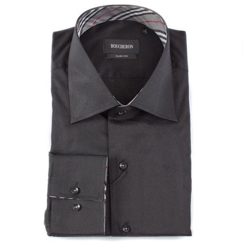 Рубашка чёрная с отделкой в клетку приталенная