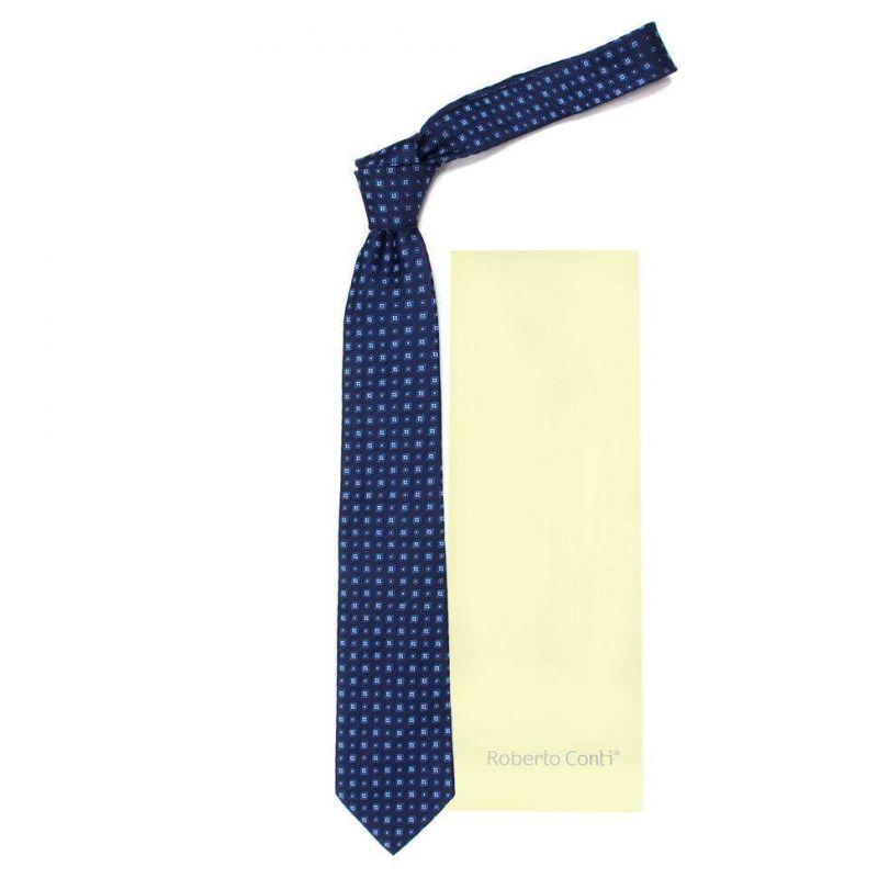 Синий галстук Roberto Conti с маленькими клетками