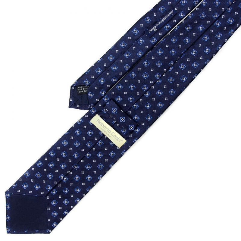 Синий галстук Roberto Conti с маленькими цветочками