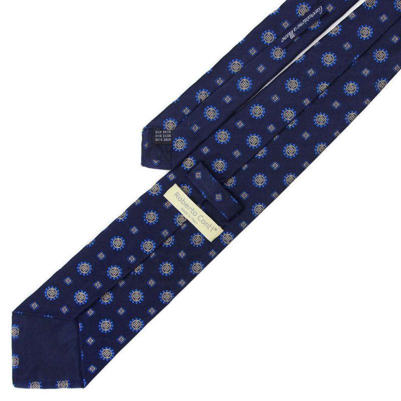 Синий галстук Roberto Conti со схематичными цветами