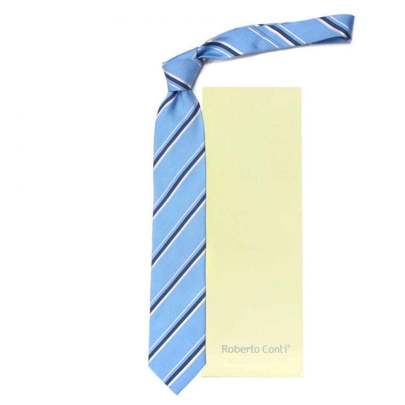 Голубой галстук Roberto Conti в синюю полоску