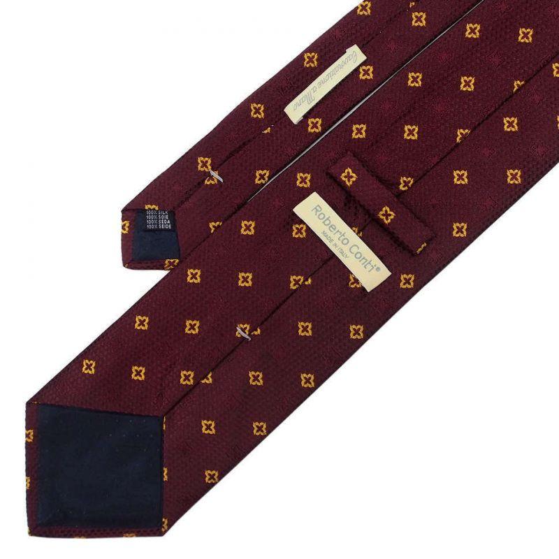 Бордовый галстук Roberto Conti с золотым рисунком