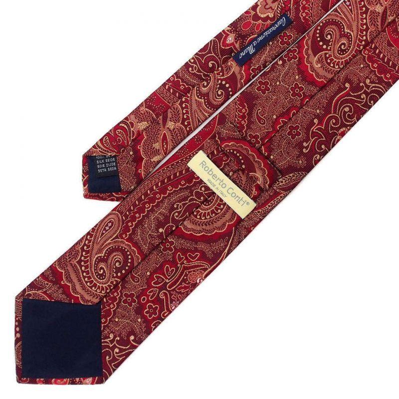Бордовый галстук Roberto Conti с рисунком Пейсли