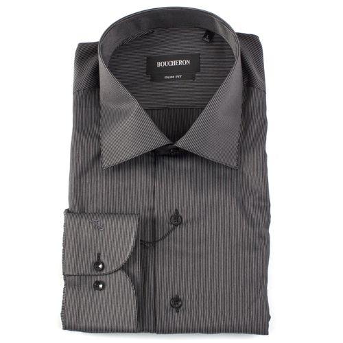 Рубашка чёрная однотонная в полоску приталенная