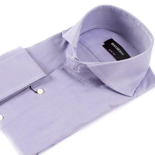 Рубашка фиолетовая в полоску приталенная