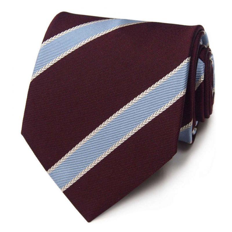 Бордовый галстук Roberto Conti с голубыми полосками