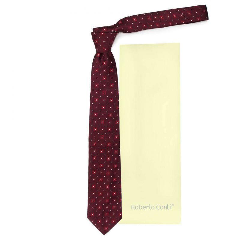 Вишнёвый галстук Roberto Conti с белыми звёздочками
