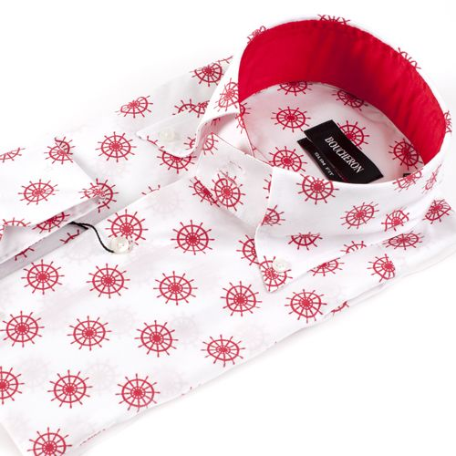 Рубашка красно-белая со штурвалами приталенная