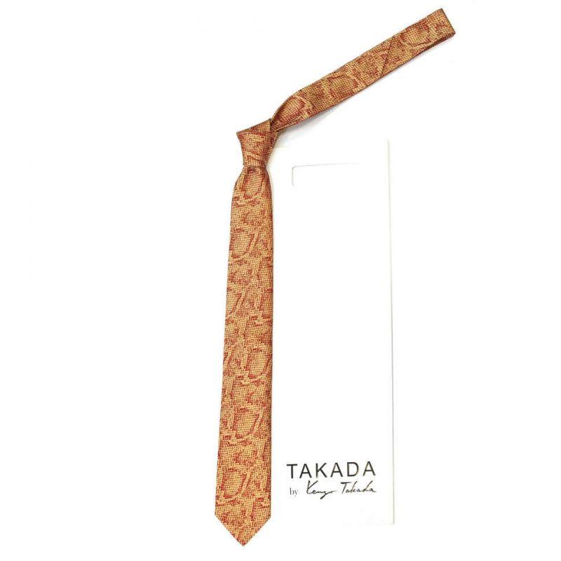 Золотистый галстук Kenzo Takada с питоновым принтом