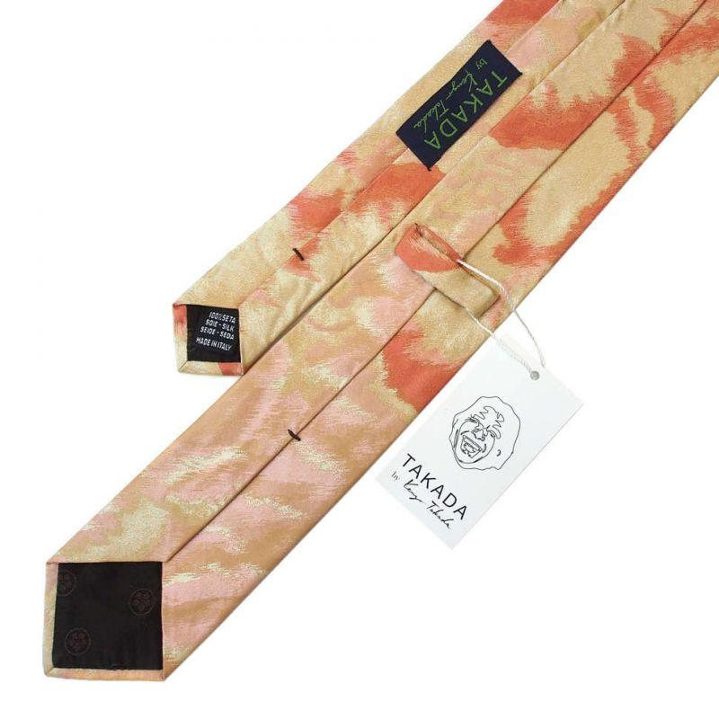 Персиковый галстук Kenzo Takada с абстрактным узором