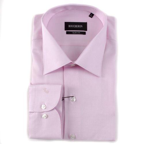 Рубашка розовая однотонная с выделкой приталенная