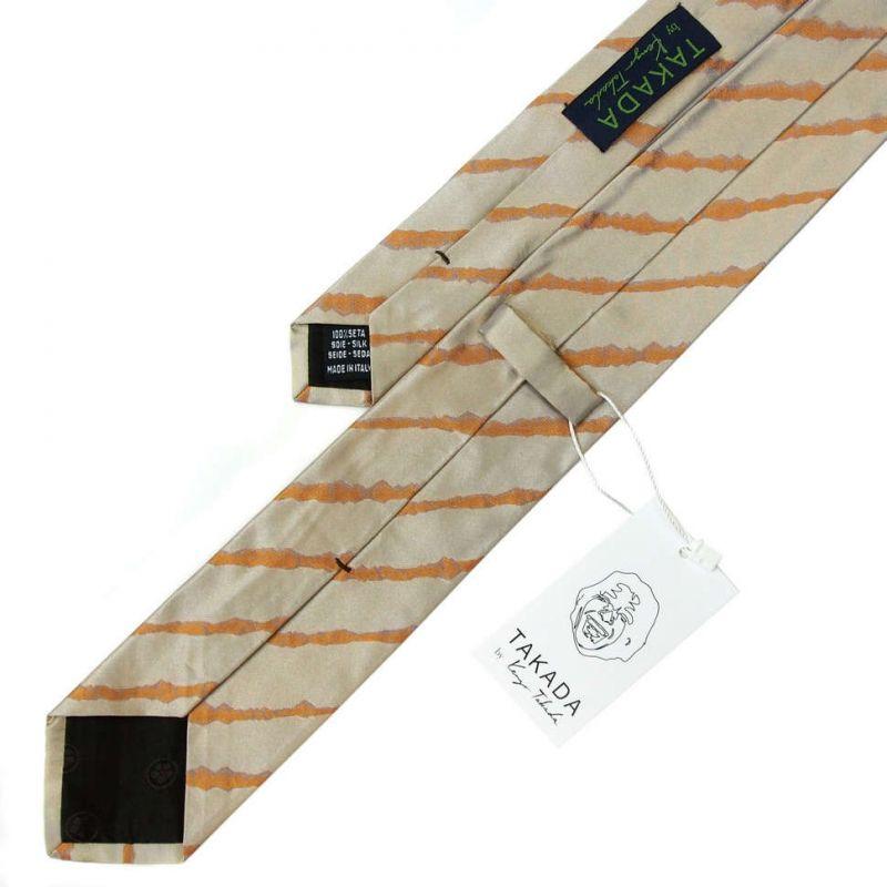 Серый галстук Kenzo Takada с оранжевыми полосами