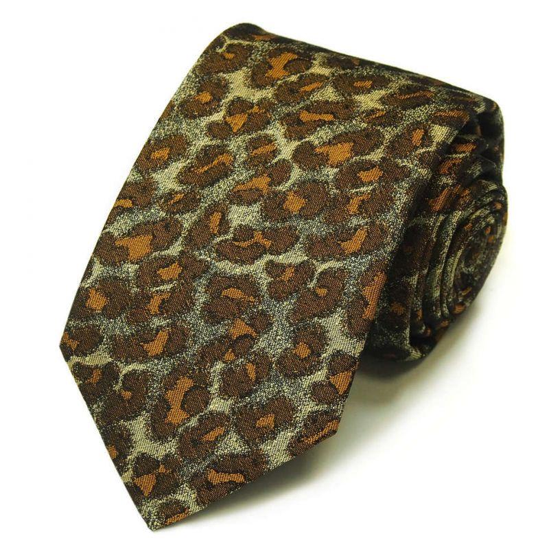Коричневый галстук Kenzo Takada с леопардовым принтом