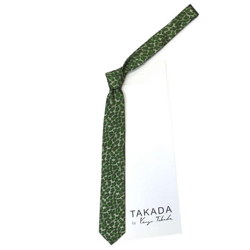 Зелёный галстук Kenzo Takada с леопардовым рисунком